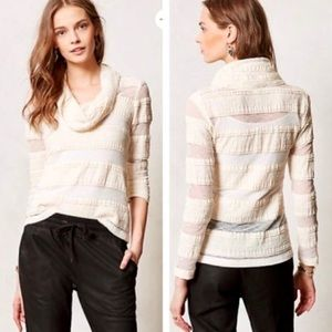 Anthropologie Tiny Lace Cowl Neck Top Long Sleeve